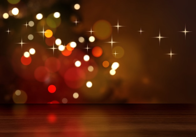 3d визуализация деревянного стола с видом на расфокусированную рождественскую елку