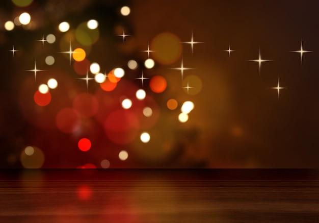 Defocussed 크리스마스 트리를 바라 보는 나무 테이블의 3d 렌더링