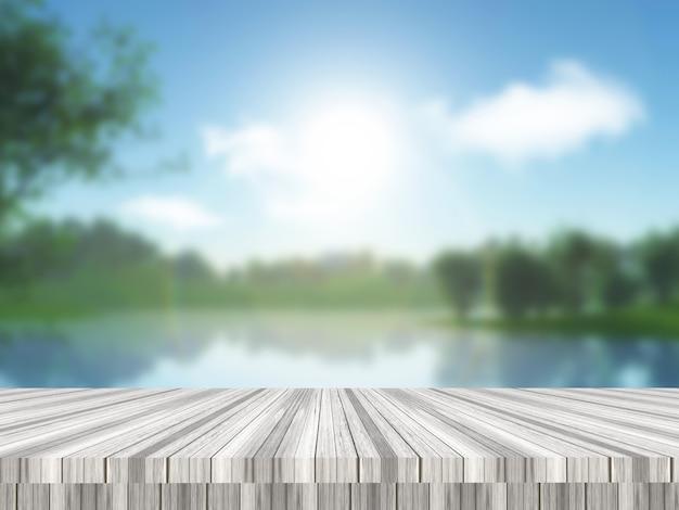 3d визуализация деревянного стола с видом на расфокусированный сельский пейзаж