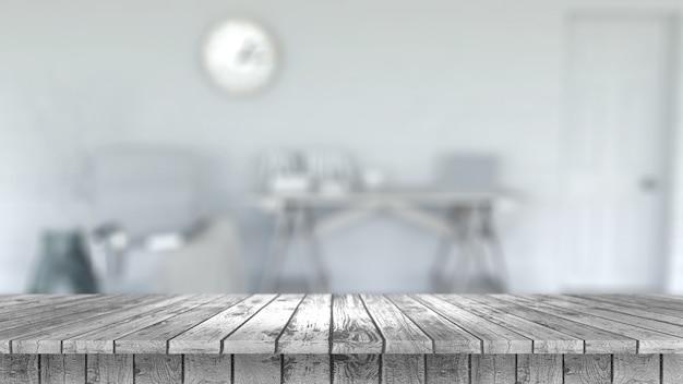 Defocussed 룸 인테리어를 찾고 나무 테이블의 3d 렌더링