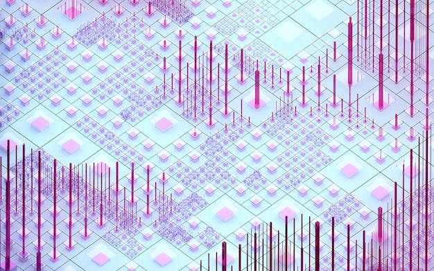 等尺性ビューでピンクパープルブルー色の小さな大きな薄いと言われたキューブボックスの柱と棒に基づいてシュールなナノシリコンバレーヒルの抽象的なアートの3 d背景の3 dレンダリング