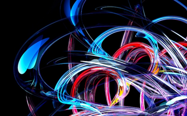 3d визуализации абстрактного искусства 3d фон с эффектом глубины резкости на основе кривой круглых волнистых трубок из синего стекла, с горящими неоновыми синими элементами
