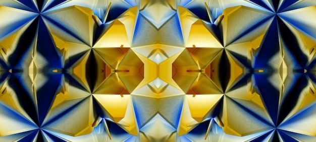 エイリアンのフラクタル対称性万華鏡のメカニズムの一部を備えた抽象芸術の3d背景の3dレンダリング Premium写真