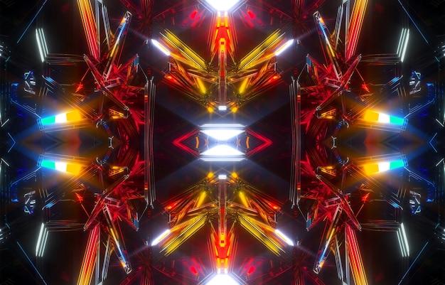 シュールなエイリアンフラクタル万華鏡のような秘密の箱の一部と抽象芸術の3d背景の3dレンダリング