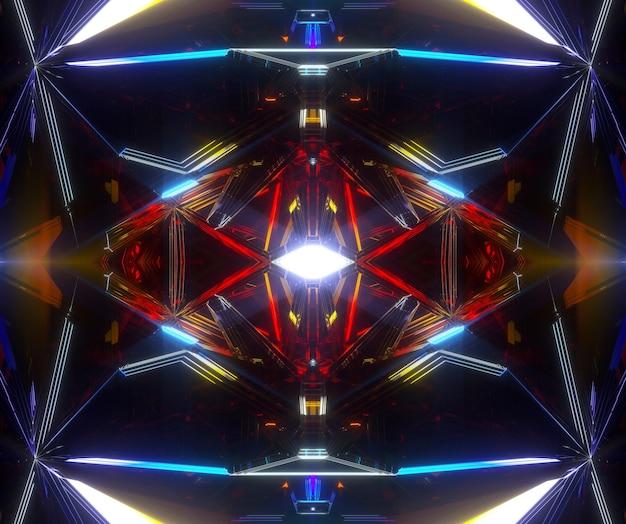 シュールなエイリアンの秘密のフラクタルメカニズムの一部を備えた抽象芸術の3d背景の3dレンダリング