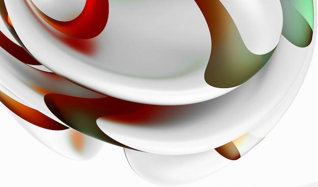 曲線の波線の形でシュールな花の一部と抽象芸術の3d背景の3dレンダリング