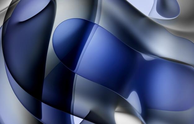 抽象芸術の3dレンダリング青と黒のグラデーションカラーのマットな透明なプラスチック素材の有機曲線の丸い波状の生物学的形態のシュールな球形の花の一部を持つ3d背景