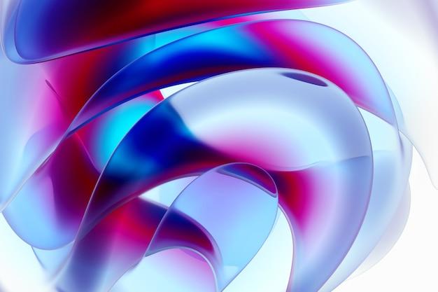 紫と青のグラデーションカラーのマットな透明なプラスチック素材の有機曲線の丸い波状の生物学的形態のシュールな球形の花の一部を持つ抽象芸術の3d背景の3dレンダリング