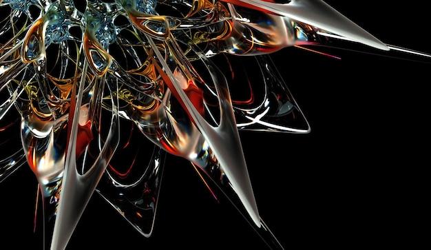 유기 곡선 형태의 초현실적 인 유리 꽃의 일부가 있는 추상 미술 3d 배경의 3d 렌더링