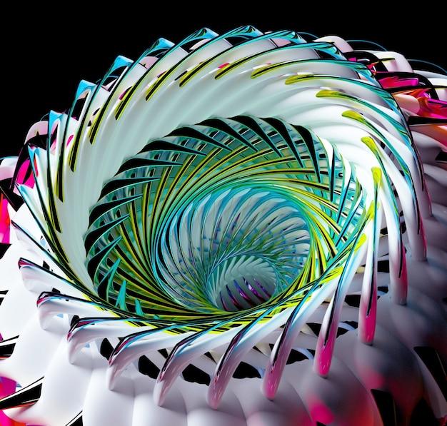 초현실적 인 3d 외계인 꽃 터빈 또는 구형 나선형 트위스트 모양의 바퀴와 추상 미술 3d 배경의 3d 렌더링