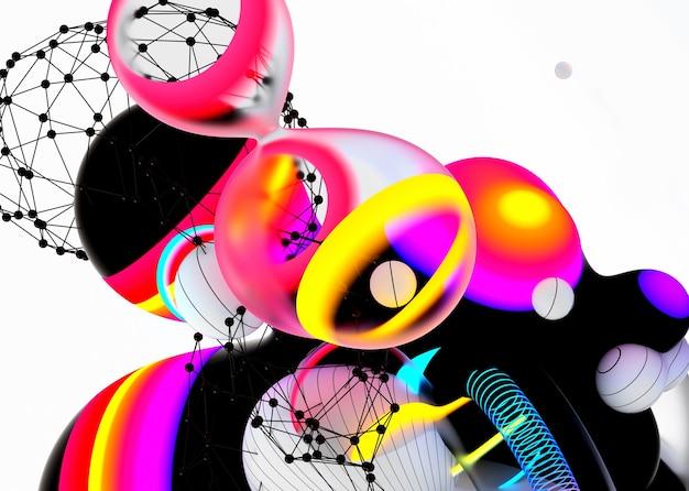 초현실적 인 비행 메타 공 분야 거품 또는 축제 파티 풍선 추상 미술 3d 배경의 3d 렌더링