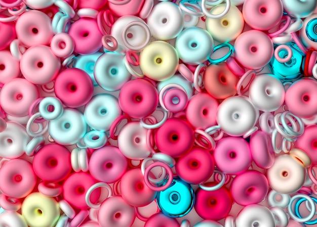 混沌とした甘いキャンディーリングまたはドーナツのシュールなミックスと抽象芸術の3d背景の3dレンダリング
