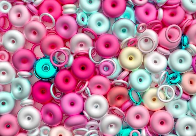 혼란스러운 달콤한 사탕 크고 작은 반지의 초현실적인 혼합으로 추상 미술 3d 배경의 3d 렌더링