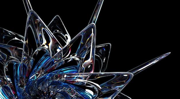 초현실적 인 외계인 별 꽃 태양 또는 눈 조각 얼음 유리 꽃의 일부 추상 예술의 3d 렌더링