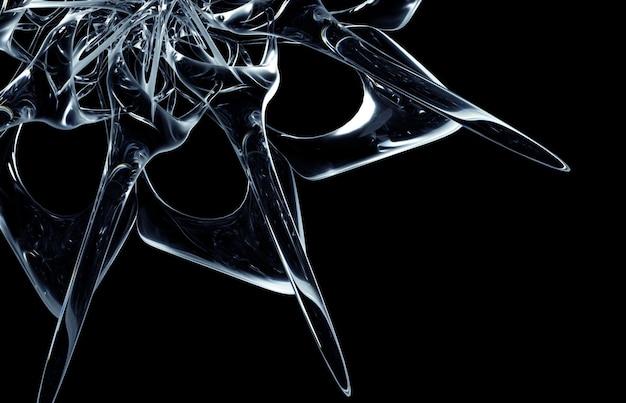 초현실적 인 외계인 별 태양 또는 눈 조각 꽃 또는 만다라 기호의 일부 추상 예술의 3d 렌더링