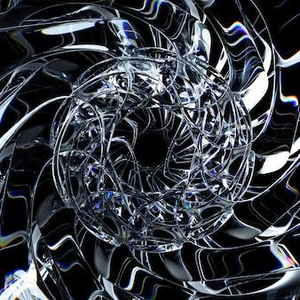 シュールなガラスの氷のエイリアンの星の花の太陽または雪の結晶の花の一部の抽象芸術の3dレンダリング