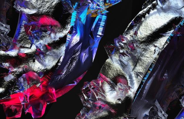 ラフなグランジ損傷鉱物の一部を含むシュールな3d背景テクスチャの抽象芸術の3dレンダリング