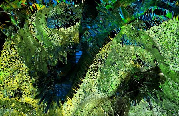 ラフなグランジグリーンの表面の一部とシュールな3d背景テクスチャの抽象芸術の3dレンダリング