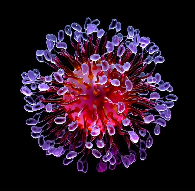 빨간색과 보라색 그라디언트 색상의 작은 공을 가진 곡선 촉수와 박테리아 또는 바이러스와 초현실적 인 3d 배경의 추상 미술의 3d 렌더링