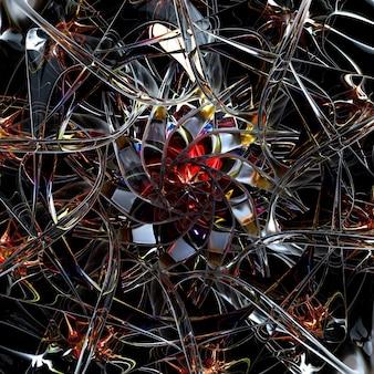 赤い氷のガラス素材でシュールなエイリアンホイールまたはスノーフレークの花の抽象芸術部分の3dレンダリング