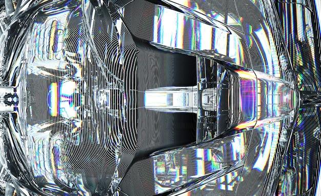유리에 사이버 프랙탈 기계 부품의 일부가 있는 추상 미술 초현실적인 3d 배경의 3d 렌더링
