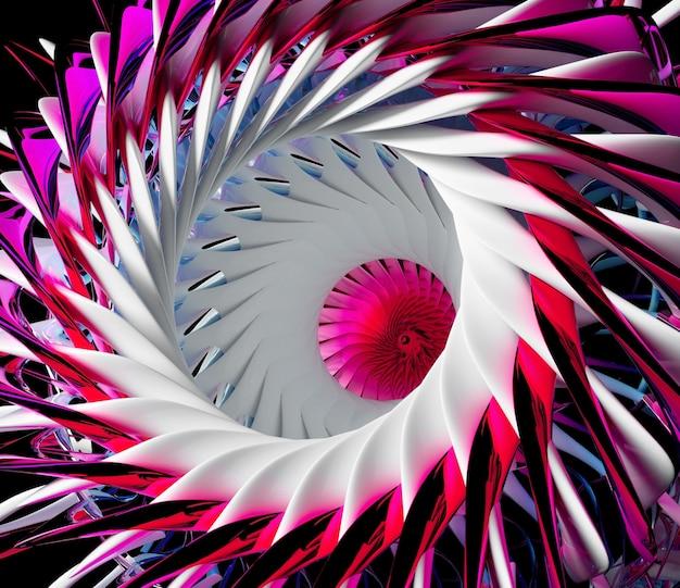 구형 나선형 트위스트 모양의 초현실적 인 3d 외계인 꽃 터빈 또는 바퀴의 일부와 추상 미술의 3d 렌더링