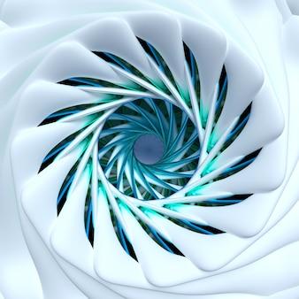 紺碧と青い金属部分を備えた白いマットセラミックのフラクタル構造を持つ球形のらせん状のねじれた形のシュールな3d花またはインドの曼荼羅のシンボルの一部を使用した抽象芸術の3dレンダリング