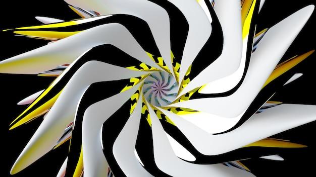 シュールな3dスパイラルフラクタルフラワーまたはツイストマンダラシンボルの一部を使用した抽象芸術の3dレンダリング