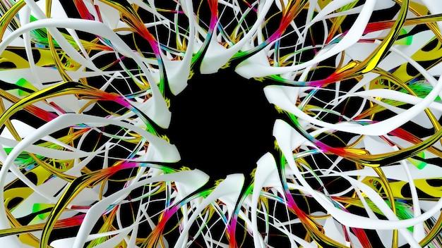 シュールな3d太陽の花またはフラクタルインドの曼荼羅のシンボルの一部を使用した抽象芸術の3dレンダリング