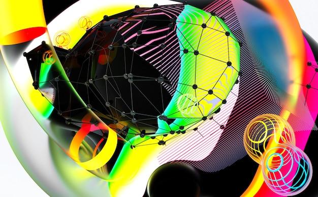 초현실적 인 비행 메타 공의 일부로 추상 미술의 3d 렌더링 분야 거품 또는 축제 파티 풍선