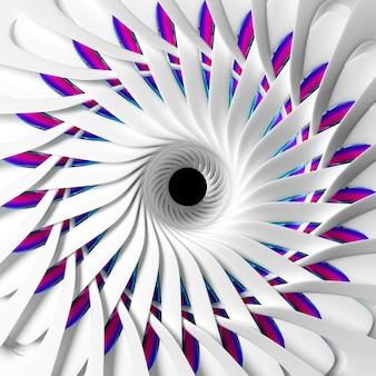 球形のらせん状のねじれた形のシュールな蓮や太陽の花またはインドの曼荼羅のシンボルの一部と抽象芸術の3dレンダリング