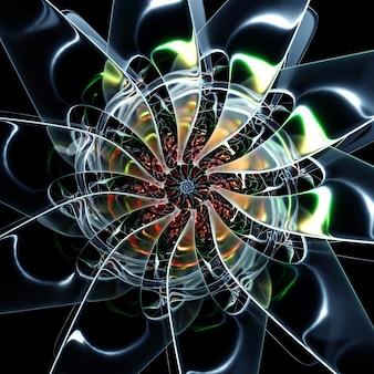 초현실적인 나선형 으스스한 외계인 별 태양 또는 눈 조각 꽃의 일부가 있는 추상 미술의 3d 렌더링