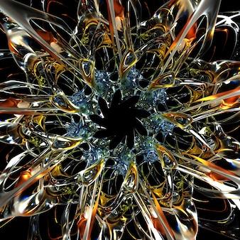 초현실적인 으스스한 외계인 별 태양 또는 눈 조각 꽃의 일부가 있는 추상 미술의 3d 렌더링