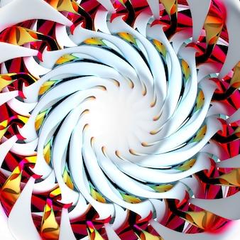 ピンクグリーンイエローの金属部分を備えた白いマットセラミックのフラクタル構造を持つ球形のらせん状のねじれた形状の部分シュールな3dエイリアンの花またはインドの曼荼羅のシンボルを使用した抽象芸術の3dレンダリング