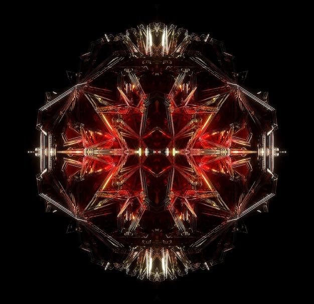 シュールなエイリアンシークレットボックスまたはスパイク付きのフラクタルキュービックメカニズムを使用した抽象芸術の3dレンダリング