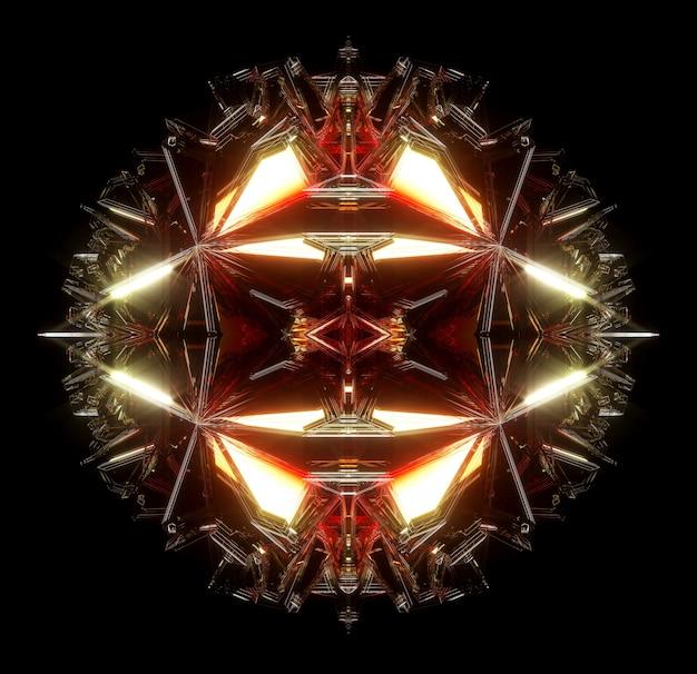 シュールなエイリアンの秘密の光るボックスまたはフラクタルキュービックメカニズムを備えた抽象芸術の3dレンダリング