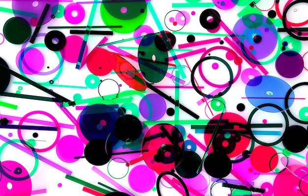 작고 큰 기하학 그림을 기반으로 한 초현실적인 원 구 또는 공이 있는 추상 미술의 3d 렌더링
