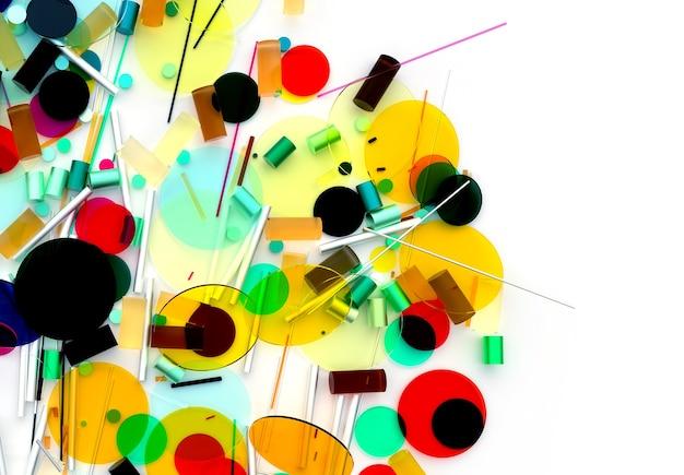작고 큰 기하학 도형을 기반으로 하는 초현실적인 원형 구 또는 공이 있는 추상 미술의 3d 렌더링