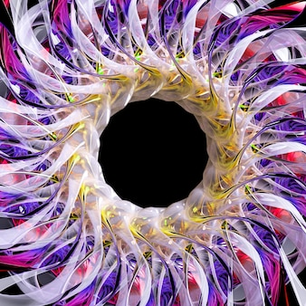 3dエイリアンの花のシュールな部分または紫色の黄色と青色の金属部分を備えた白い光沢のあるプラスチックの球形のらせん状のねじれた形状のフラクタル構造のインドの曼荼羅のシンボルを使用した抽象芸術の3dレンダリング