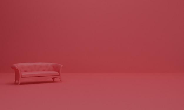 ソファ付きの抽象的な背景構成の3 dレンダリング。