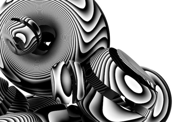 표면에 검은 평행선 또는 줄무늬가있는 흰색 무광택 플라스틱에 둥근 부드러운 형태의 초현실적 인 도넛 공 풍선 또는 거품의 일부와 추상 흑백 예술 구성의 3d 렌더링