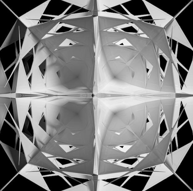 シュールな3dサイバースターまたはエイリアンの花の一部を使用した抽象的な白黒アートの3dレンダリング