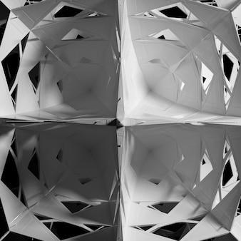 シュールな3dサイバースターまたはエイリアンスノーフレークの一部を使用した抽象的な白黒アートの3dレンダリング