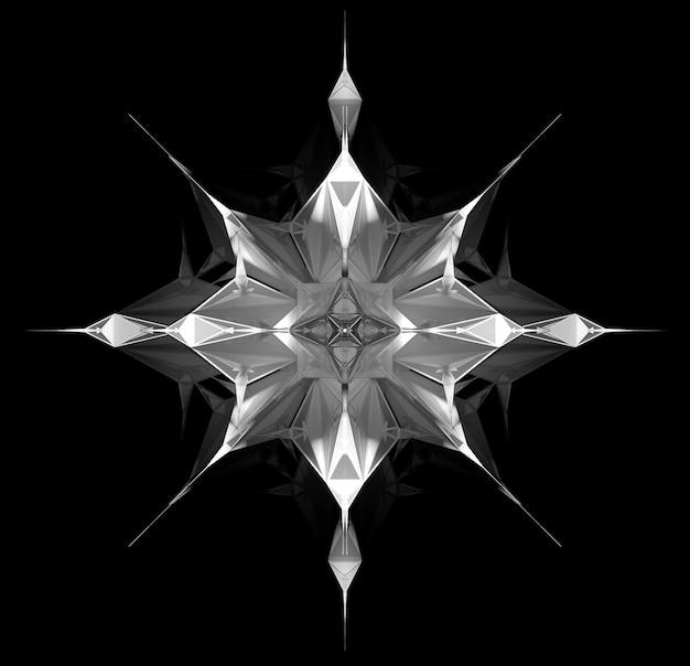 孤立した黒い背景の上の白いプラスチック素材の三角形とピラミッドのフラクタル構造に基づくシュールな3dサイバースターまたはエイリアンスノーフレークオブジェクトと抽象的な黒と白のアートの3dレンダリング