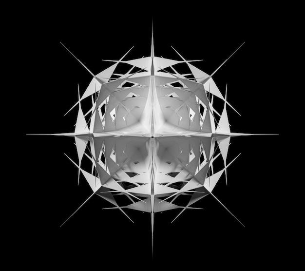 シュールな3dサイバースターまたはエイリアンスノーフレークオブジェクトを使用した抽象的な白黒アートの3dレンダリング