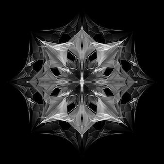 초현실적인 3d 사이버 스타 또는 외계인 눈 조각 개체가 있는 추상 흑백 예술의 3d 렌더링