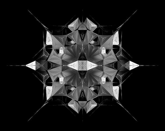 シュールな3dフラクタルサイバースターまたはエイリアンメカニズムによる抽象的な白黒アートの3dレンダリング