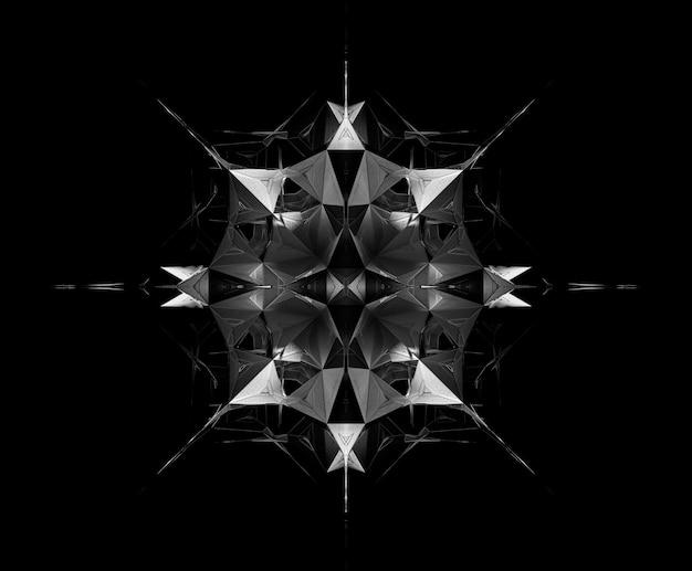 シュールな3dフラクタルメタルサイバーエイリアンスターメカニズムによる抽象的な白黒アートの3dレンダリング