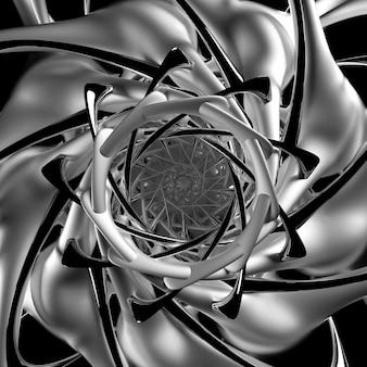 シュールなフラクタルスパイラルエイリアンの花と抽象的な黒と白のモノクロアートの3dレンダリング