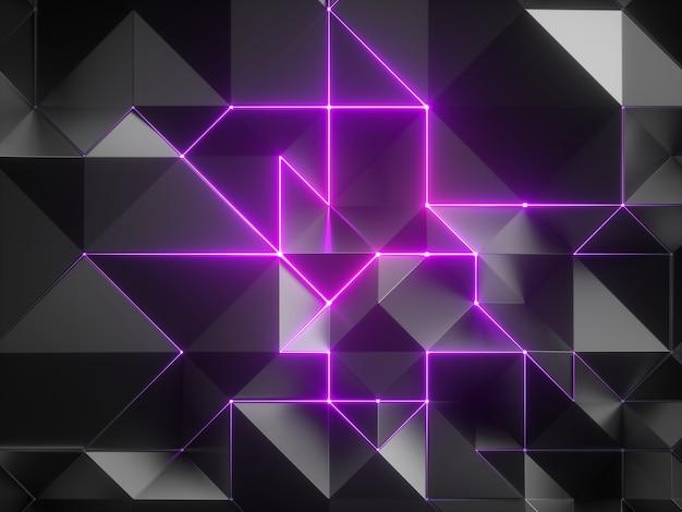ポリゴンメッシュとピンクのネオンの輝く光で抽象的な黒い幾何学的な背景の3dレンダリング